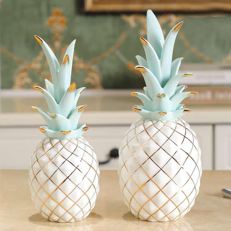 ananas en céramique blanc, or et bleu