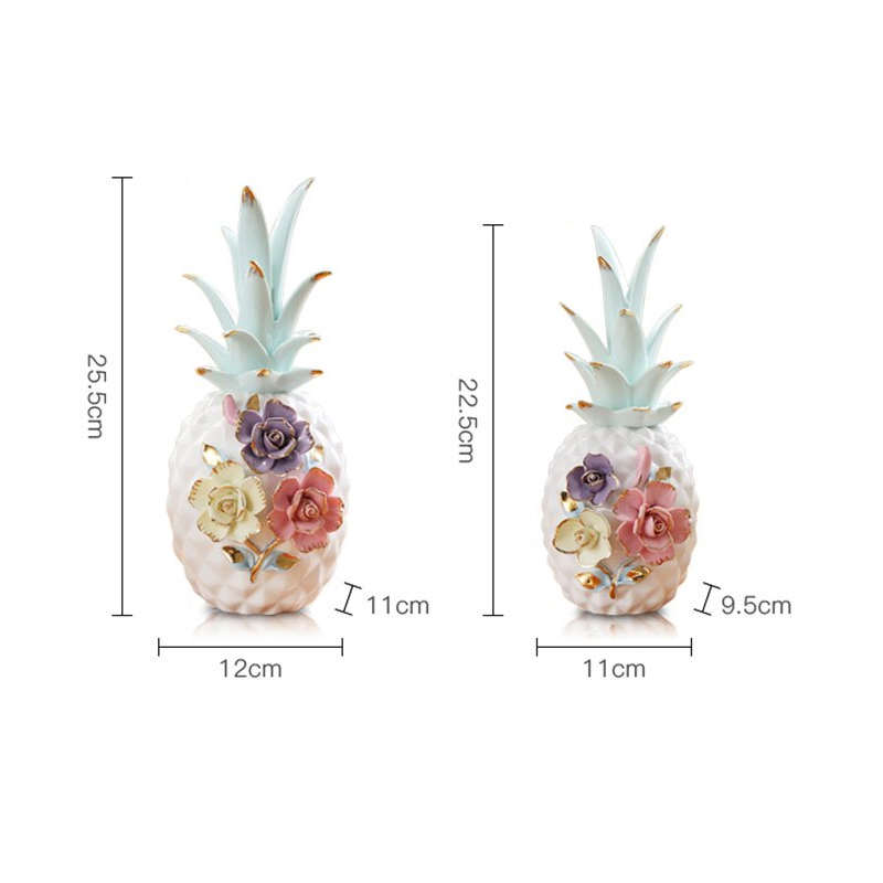 ananas céramique blanc à fleurs en grande et petite taille
