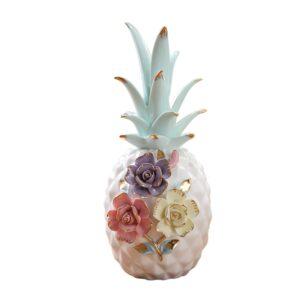 Ananas en céramique blanc à fleurs