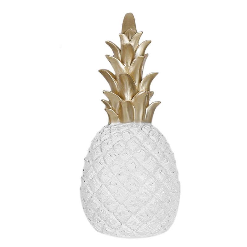 Ananas Deco blanc et or céramique et émail