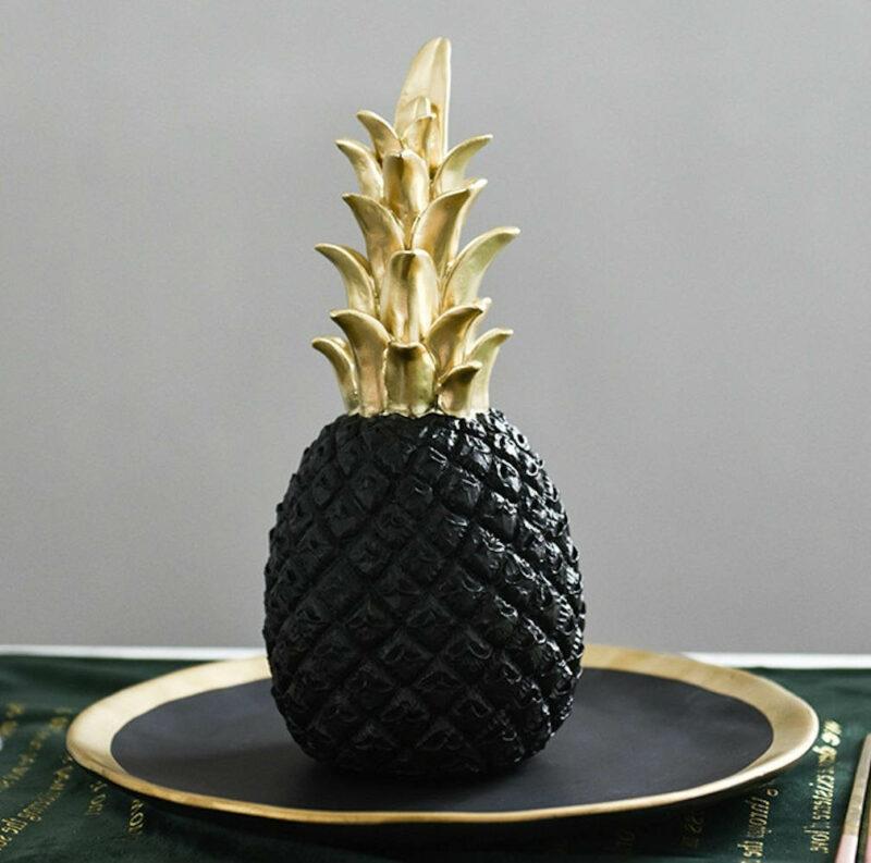 ananas déco noir et doré en céramique
