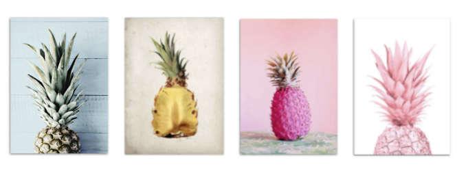 ananas deco, quatre tableaux motif ananas
