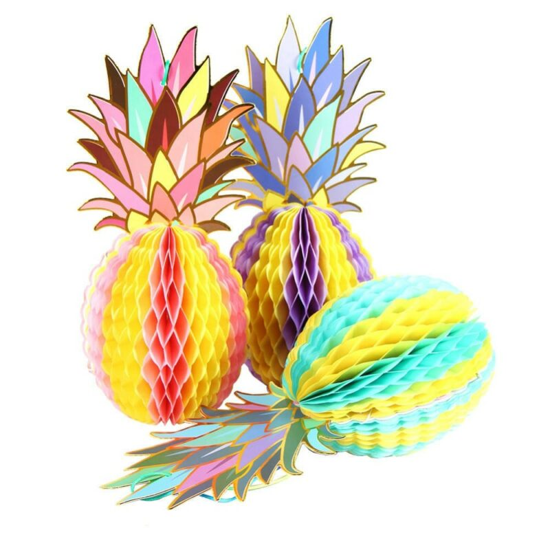 ananas papier crépon multicolore lot de 3