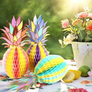 Déco de Fête Ananas <br>Ananas Papier Crépon (Lot de 3)