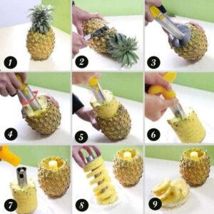 Découpe Ananas <br>Découpeur / Eplucheur Inox