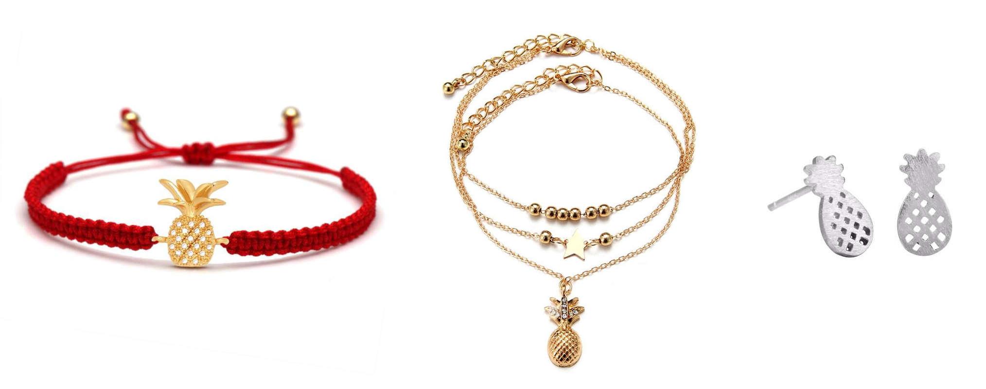 bijoux ananas avec bracelet cordon rouge, chaine de cheville et boucle d'oreilles