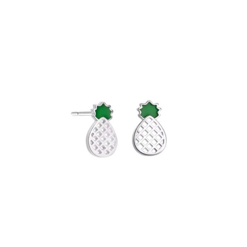 clous d'oreilles ananas aux formes géométriques et minimaliste en argent et aux feuilles de couleur verte