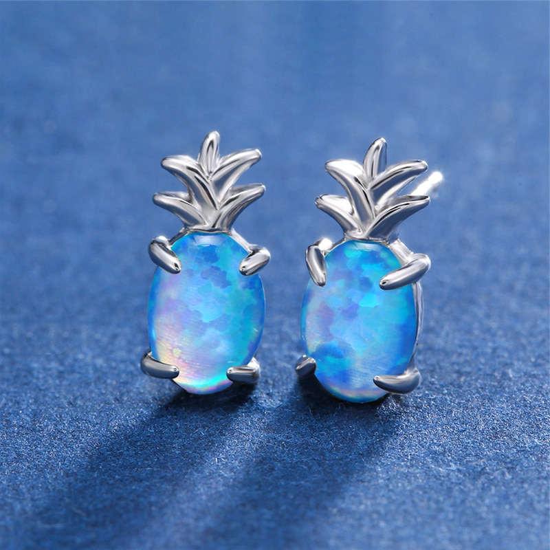 boucles d' oreilles ananas opale bleue et argent