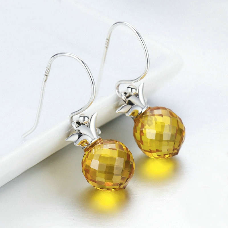 boucle d' oreilles ananas en argent et verre jaune