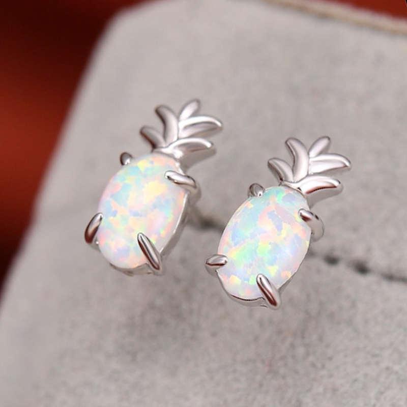 boucles d' oreilles ananas opale blanche et argent 925