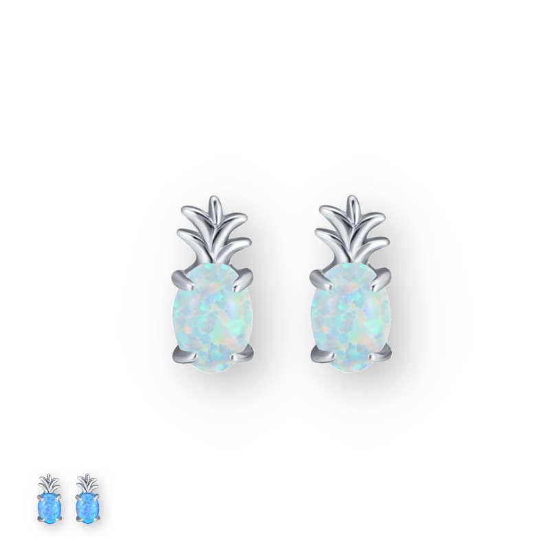 boucles oreilles ananas en argent et opale bleue ou blanche