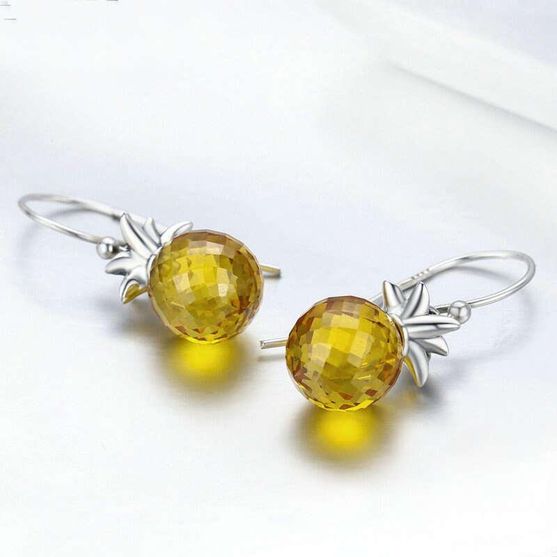 boucles d' oreilles en forme d'ananas en argent massif 925 et zircon cubique