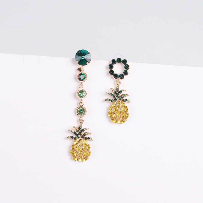 boucles d'oreilles ananas asymétriques verte et jaune et doré en argent