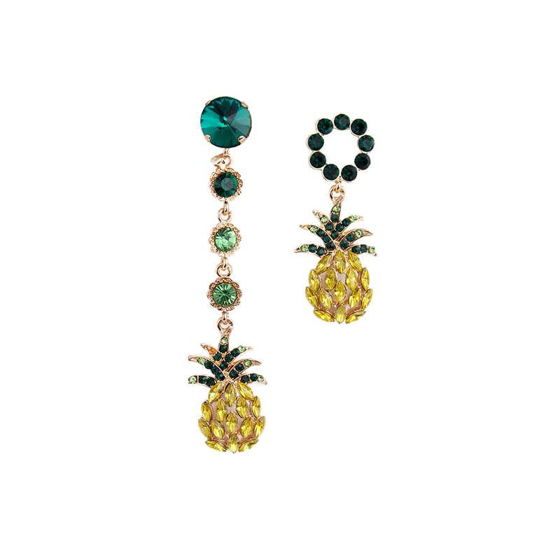 boucles d'oreilles ananas pendantes asymétriques or et vert
