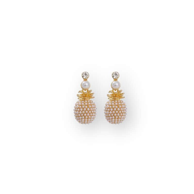boucles d'oreilles en forme d'ananas or et perles blanches