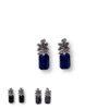 boucles d'oreilles ananas faux saphir en zirconium bleu, noire et bleu nuit
