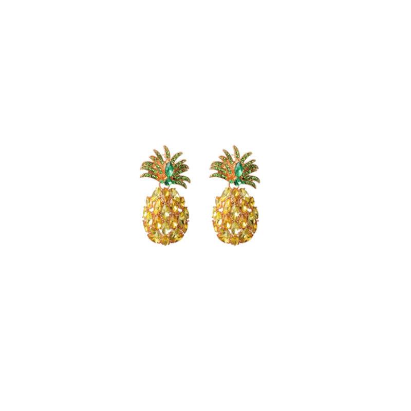boucles d'oreilles en strass ananas de couleur jaune