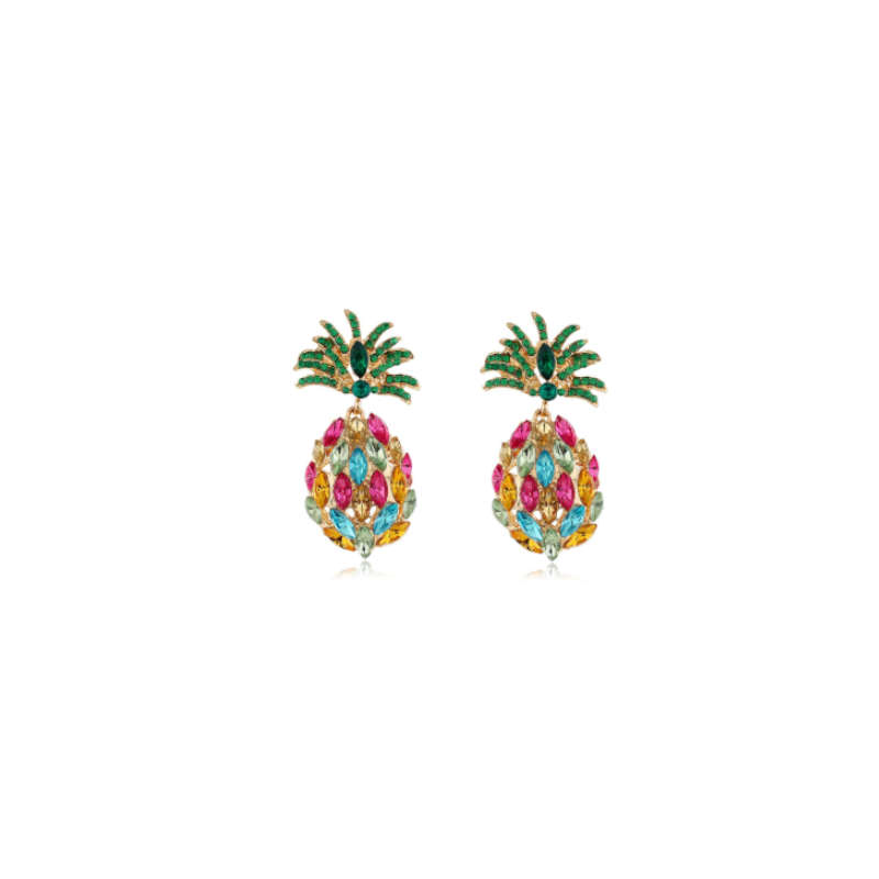 boucle d' oreilles strass ananas multicolores
