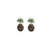 boucle d'oreille ananas noire en strass et or