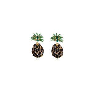 Boucles d' Oreilles Ananas <br>Strass Noires