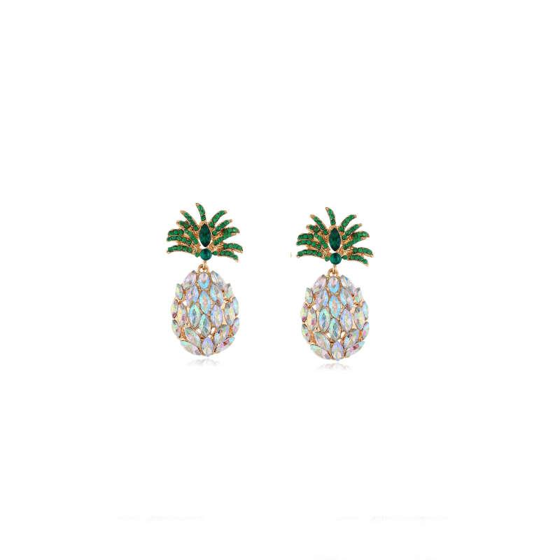 boucle d'oreilles ananas en strass couleur arc en ciel