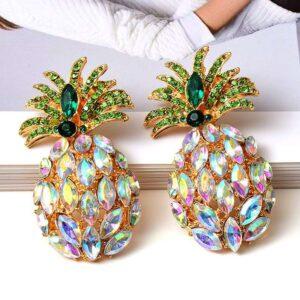 Boucles d' Oreilles Ananas <br>Strass Arc en Ciel
