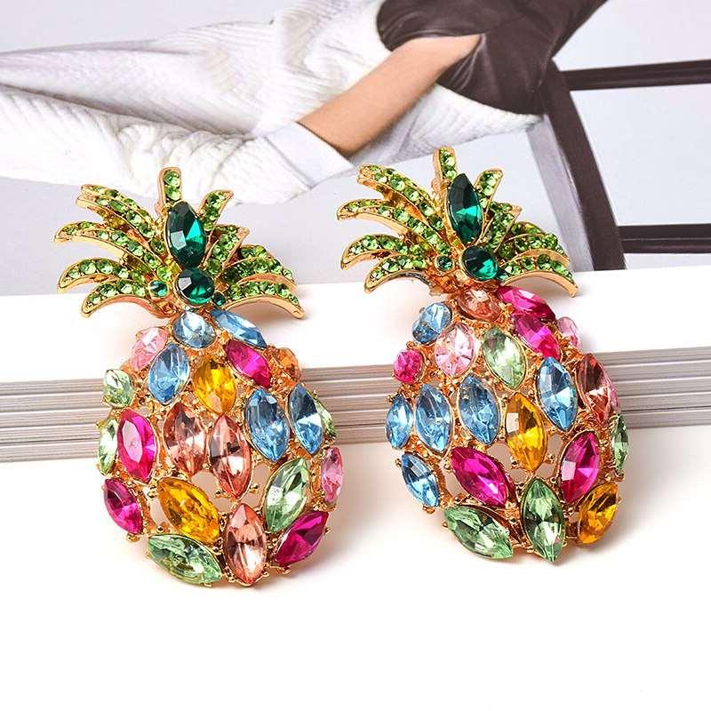 clous d' oreilles strass ananas plusieurs couleurs