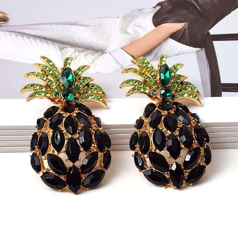 clous d'oreille ananas strass noir et or