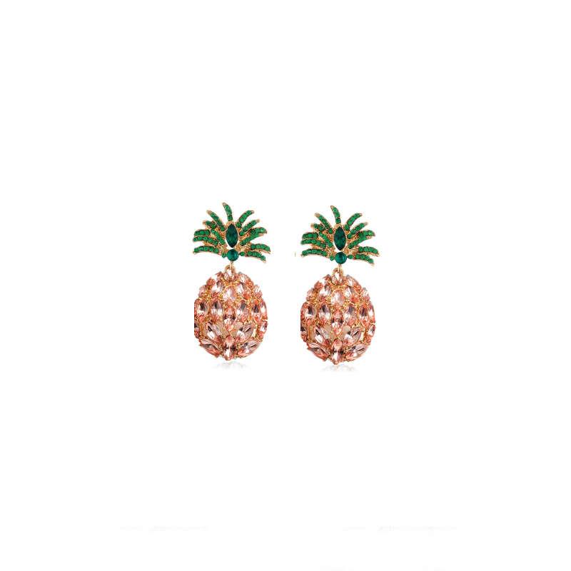 boucle d'oreilles ananas en pierre de strass rose