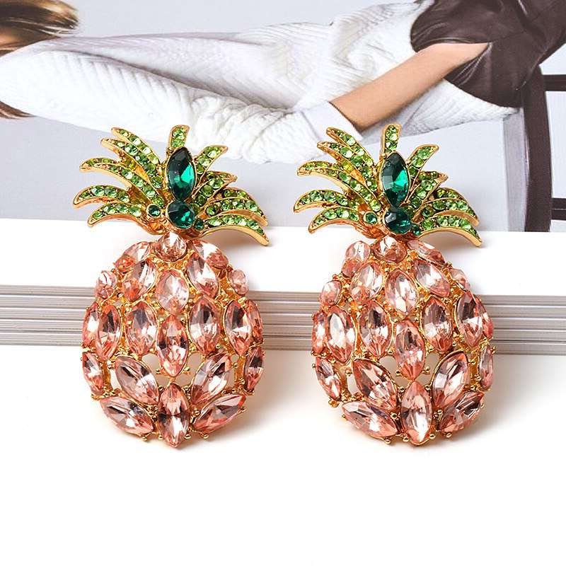 clous d'oreille ananas pierre strass rose