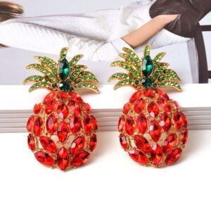 Boucles d' Oreilles Ananas <br>Strass Rouge