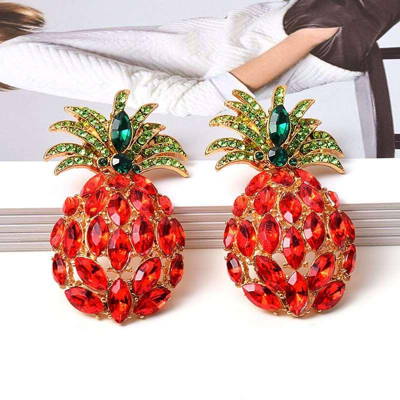 boucles d' oreilles ananas en verre rouge