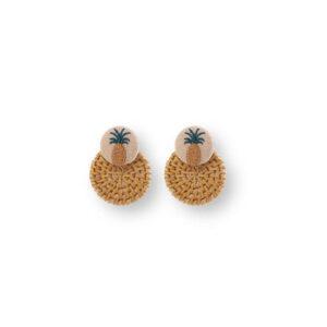 Boucles d' oreilles Ananas <br>Tissu et Paille