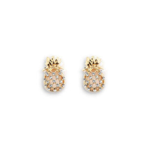 Boucle d' oreilles Ananas <br>Ecrin de Cristal (Or)