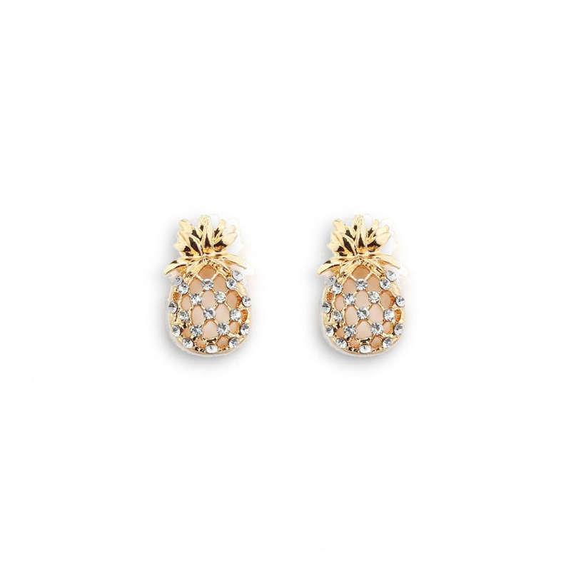 boucle d' oreilles ananas plaqué or parsemées de pierres (faux diamants) ressemblant à du zirconium (ou zircon)