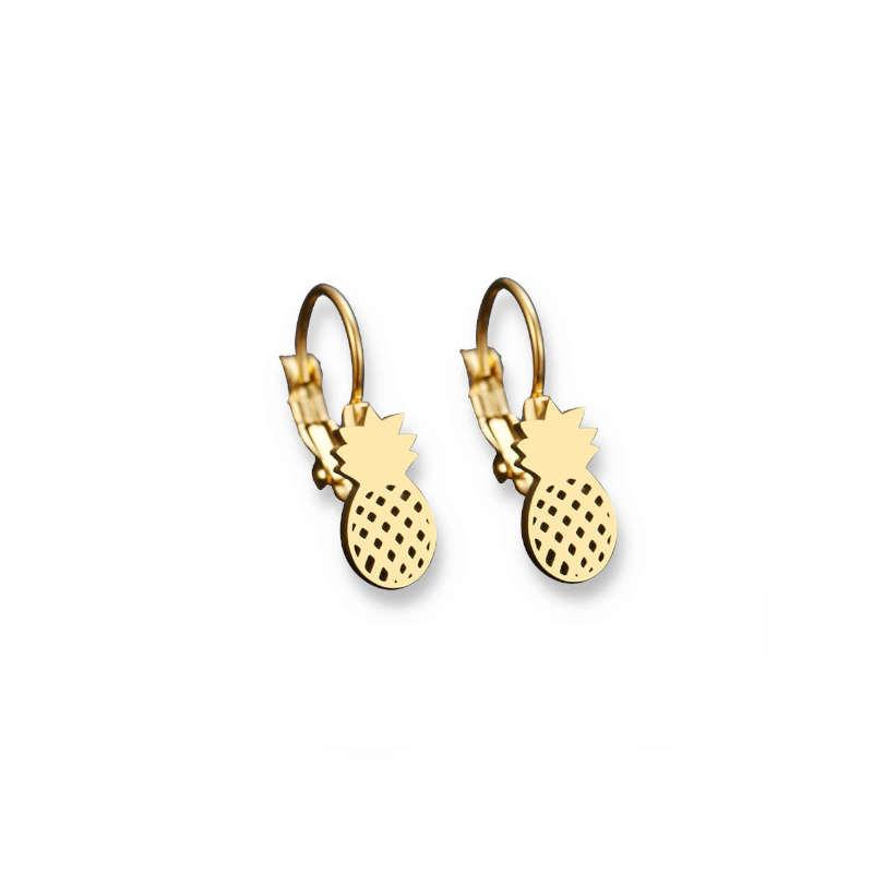 boucle d'oreilles ananas en or