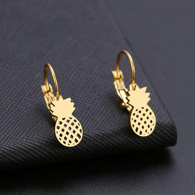 boucle d'oreilles ananas plaqué or