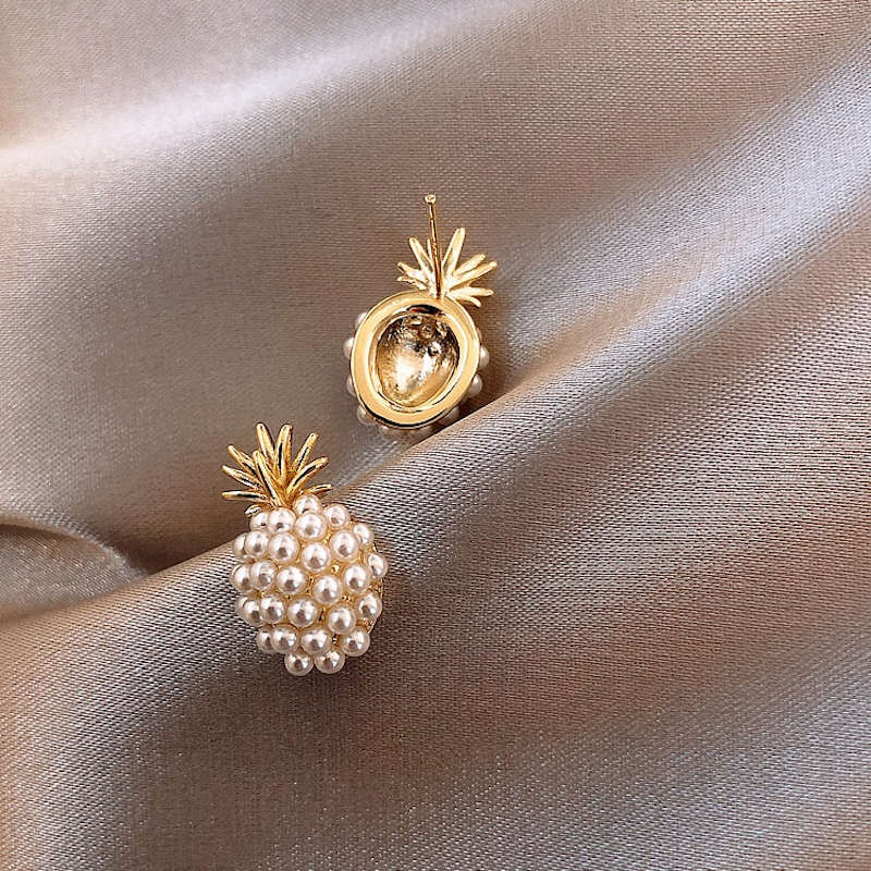 boucles oreilles ananas perles blanches