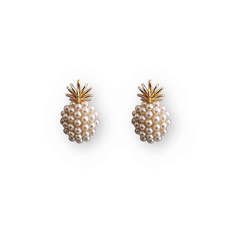 boucle d'oreilles ananas en or avec perles blanches