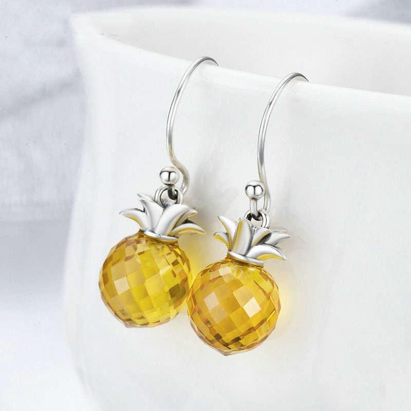 boucle d' oreilles ananas argent et diamant synthétique