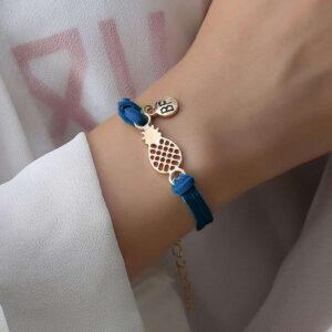 Bracelet d'Amitié Ananas Bleu