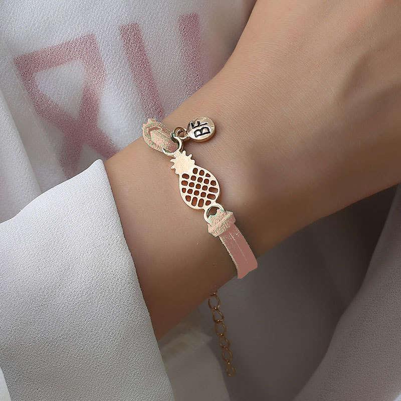 bracelet d'amitié ananas couleur rose saumon