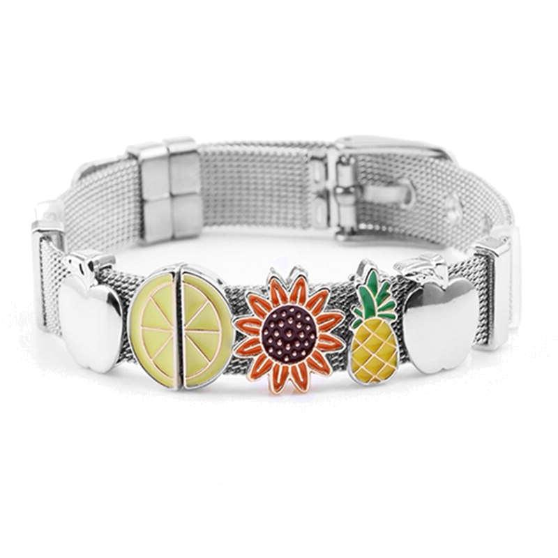 bracelet ananas ceinture plaqué argent avec fruits pomme, citron tournesol ananas