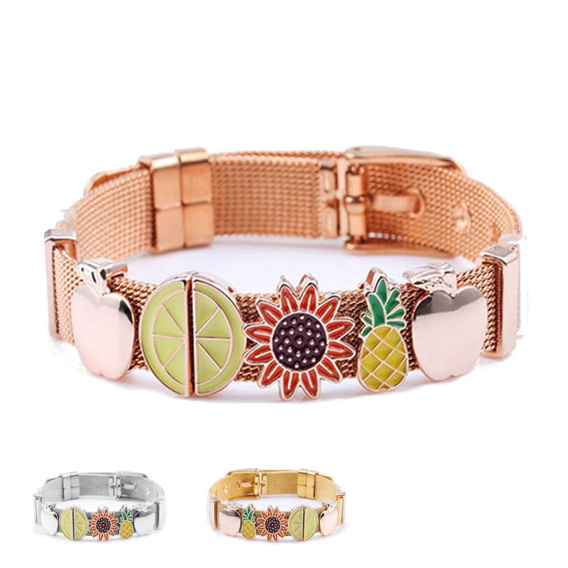 bracelet ananas ceinture or rose, or et argent avec tournesol, pomme et autres fruits
