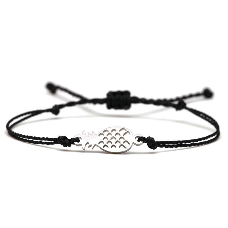 bracelet ananas cordon noir
