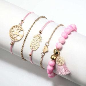 Bracelet Ananas <br>Cordon Rose Arbre de Vie
