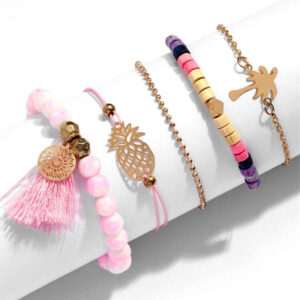 Bracelet Ananas <br>Cordon Rose Palmier
