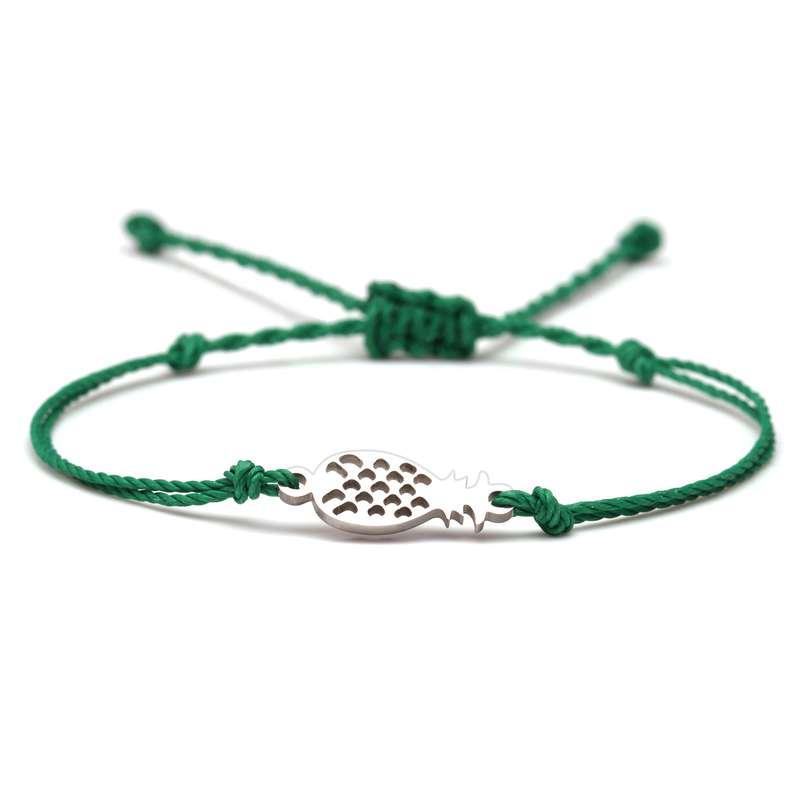 bracelet ananas cordon vert