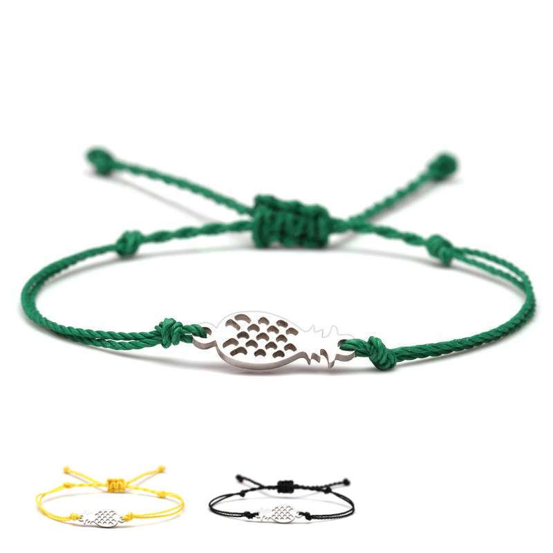 Bracelet ananas cordon argent