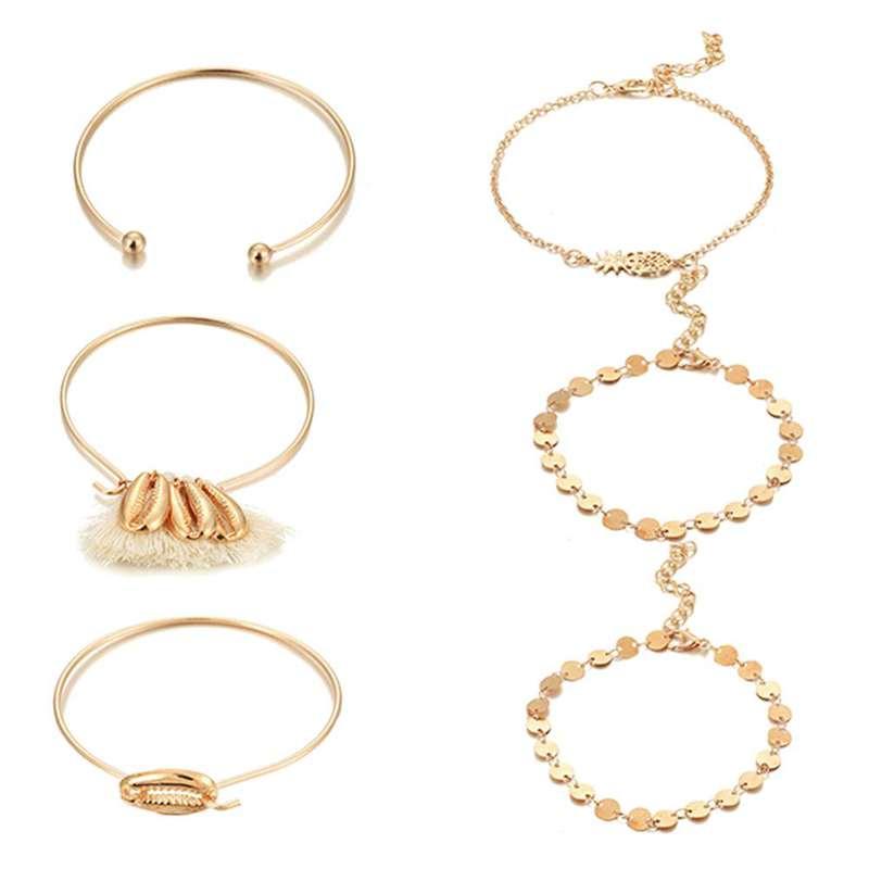 bracelet ananas cauris doré